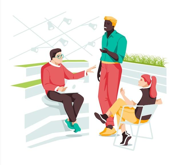 Concetto di business in un'area di lavoro di design piatto con tre persone creative