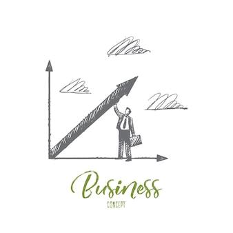 Concetto di affari. manager di successo disegnato a mano. imprenditore e la sua crescita illustrazione isolata.