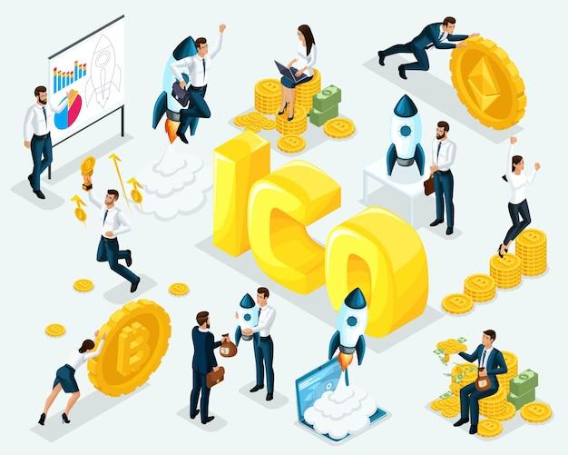 Concetto di business ico blockchain infografica, mining di criptovaluta, progetto di avvio, illustrazione
