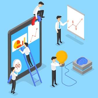 Concetto di affari. idea di strategia e realizzazione nel lavoro di squadra. brainstorming e strategia. illustrazione isometrica isolata