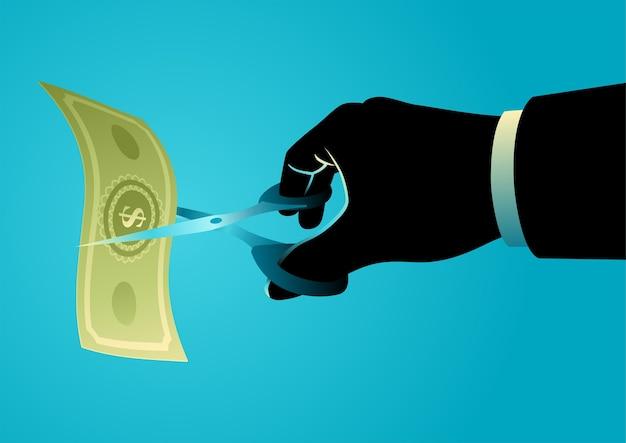Illustrazione di concetto di affari della mano dell'uomo d'affari con le forbici che tagliano la fattura dei soldi. prezzo o riduzione dei costi, crisi, concetto di ridenominazione