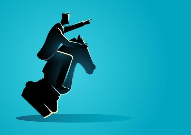 Illustrazione di concetto di affari di un uomo d'affari che cavalca un cavaliere di scacchi