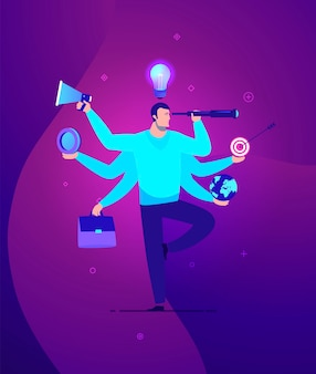 Illustrazione del concetto di business uomo d'affari con multitasking e multi abilità - colori moderni.