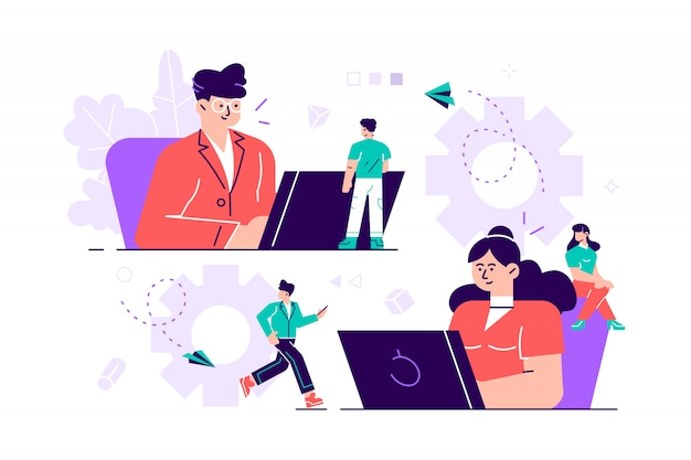 Concetto di business di illustrazione, collegamenti di meccanismo di piccole persone, meccanismo di business, sfondo astratto con ingranaggi, le persone sono impegnate nella promozione aziendale, analisi della strategia, comunicazione