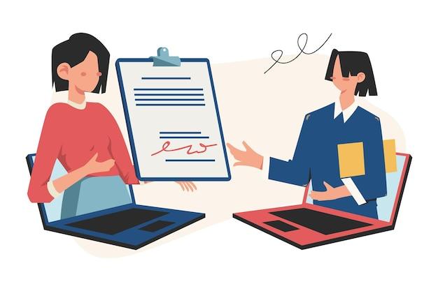 Illustrazione di concetto di affari, concetto di partnership, accordo, stretta di mano, firma di documenti