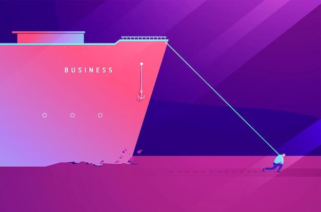 Illustrazione di concetto di affari di uomo forte che porta il carico su se stesso