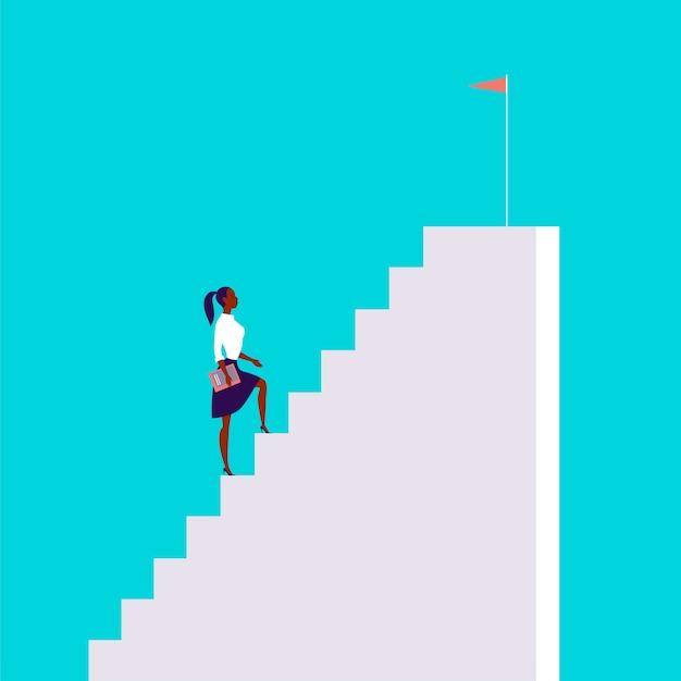 Illustrazione di concetto di affari con la signora di affari che sale le scale con la bandiera su esso isolata su fondo blu. carriera, aspirazione, raggiungimento dell'obiettivo, motivazione, crescita, leadership - metafora.