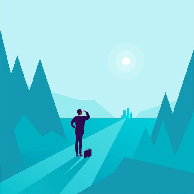 Illustrazione di concetto di affari con l'uomo d'affari che sta al bordo della foresta e che guarda sulla città dell'orizzonte. metafora per nuovi obiettivi, obiettivi, scopo, risultati e aspirazioni, motivazione, superamento.