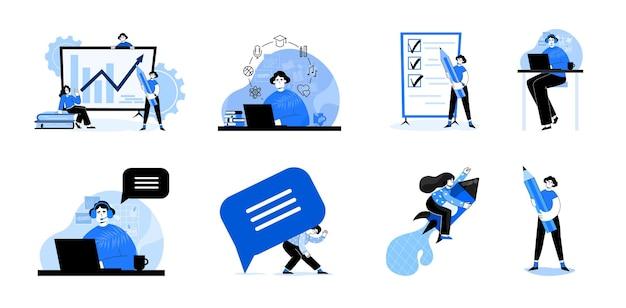 Illustrazioni di concetto di affari, raccolta di scene in ufficio con donne in attività commerciale, centro di supporto e altro