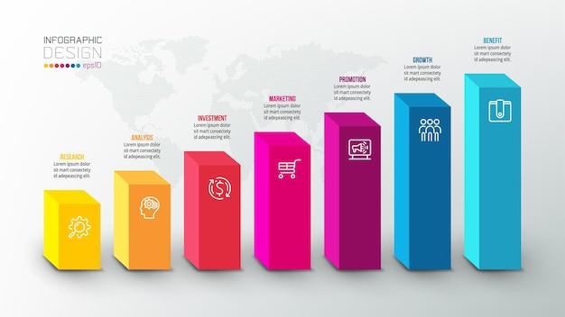 Modello di infografica concetto di business con grafico