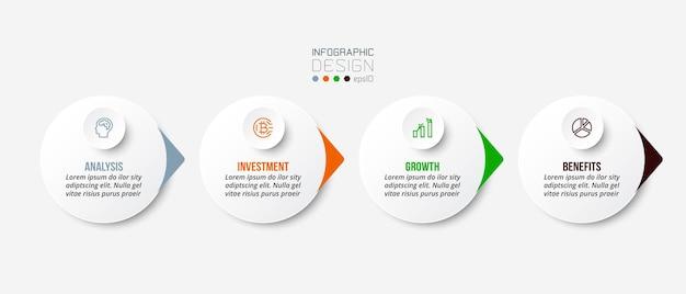 Modello di infografica concetto di business con opzioni Vettore Premium