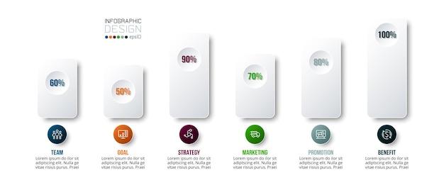 Modello di business concetto infografica con opzione percentuale