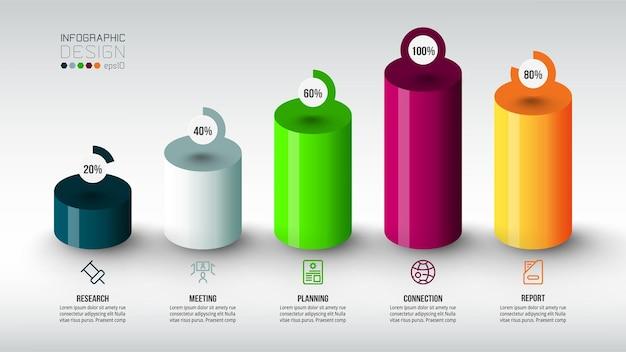 Modello di infografica del concetto di business con opzione percentuale