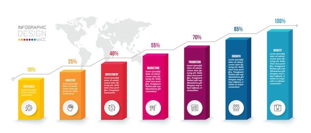 Modello di infografica concetto di business con opzione percentuale.