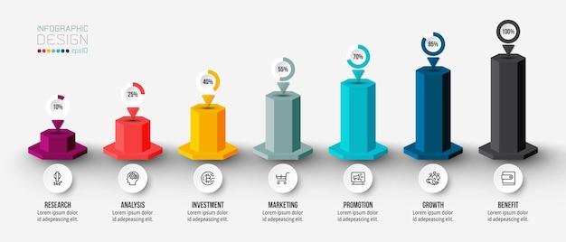 Modello di infografica del concetto di business con opzioni di percentuale