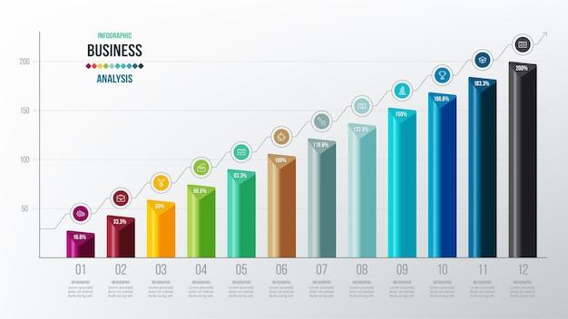 Modello di infografica concetto di business con percentuale