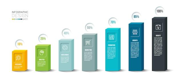 Modello di infografica concetto di business con percentuale.