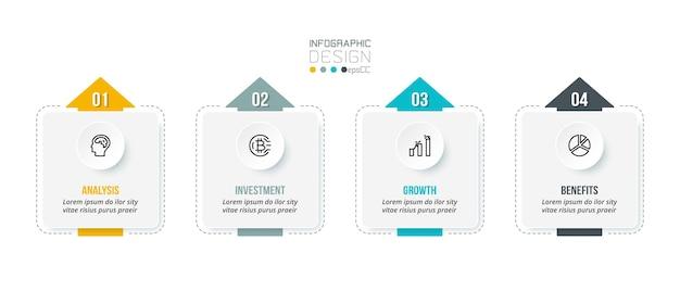 Modello di infografica concetto di business con passo.