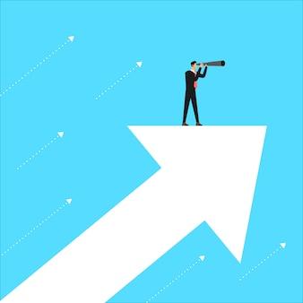 Leader del concetto di business stand alla ricerca di visione per il business. illustrare.