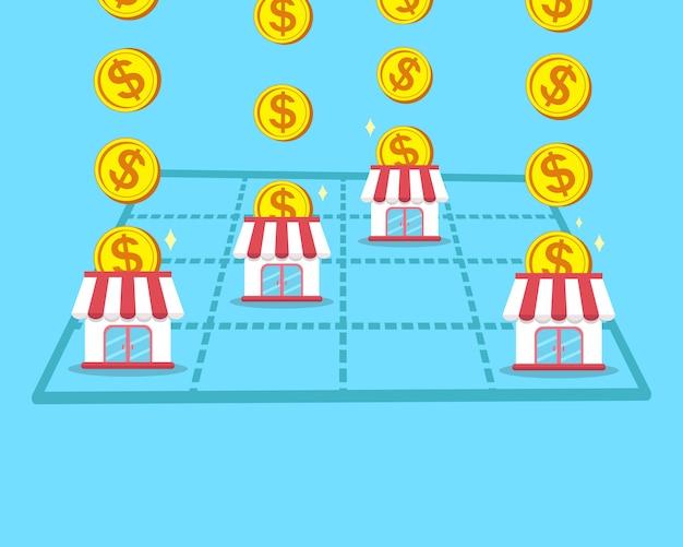 Il concetto di business fa soldi con il negozio in franchising