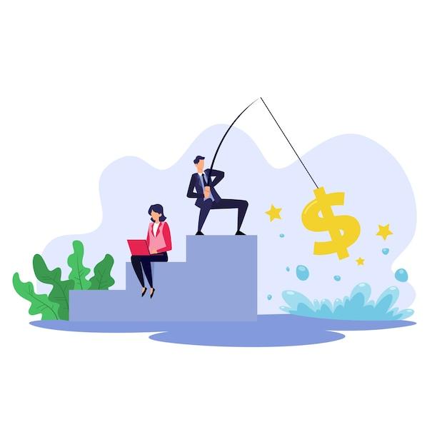 Concetto di affari, un uomo che pesca denaro illustrazione piatta