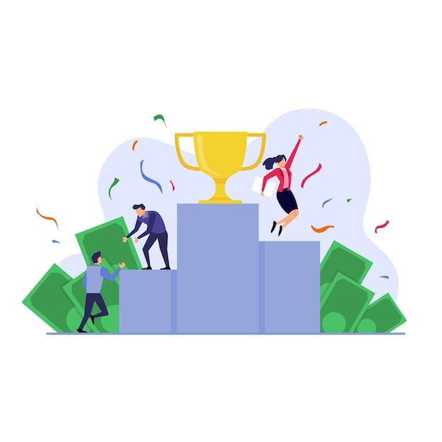 Concetto di affari, persone in piedi sul podio, raggiungimento dell'illustrazione piatta Vettore Premium