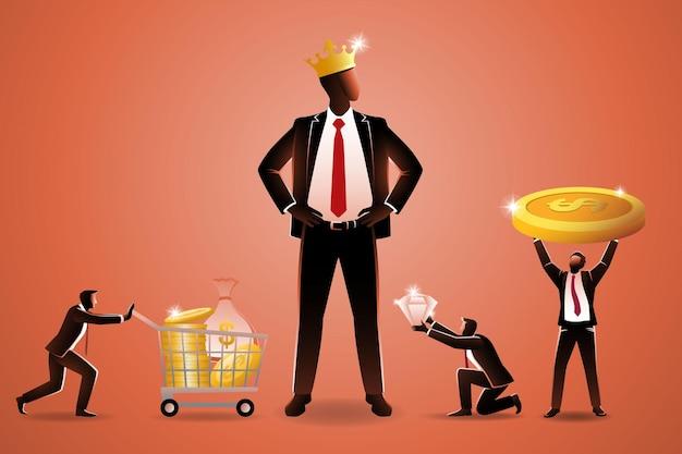 Concetto di business, diversi piccoli imprenditori che trasportano varie ricchezze da dare al gigante uomo d'affari che indossa la corona d'oro