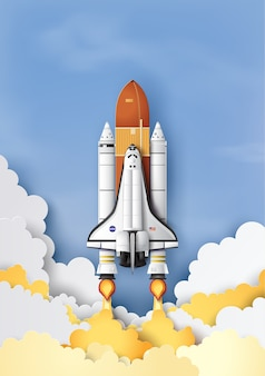 Lancio della navetta spaziale concetto di business verso il cielo