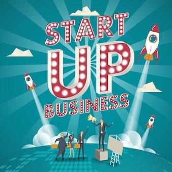 Concetto di affari. concetto di avvio gli esperti commerciali creano nuovi modelli di business.
