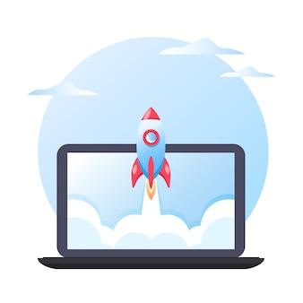 Concetto di business di avvio del progetto di successo, lancio di un razzo su sfondo laptop, illustrazione piatta.