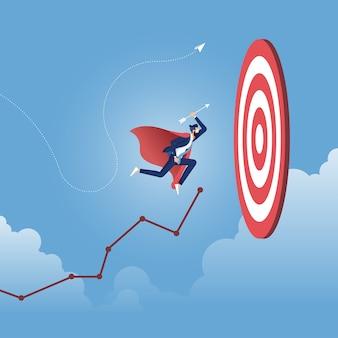 Concetto aziendale di targeting e cliente, rotta verso il successo