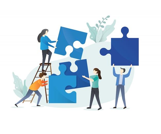 Concetto di affari. metafora della squadra. persone che collegano elementi del puzzle. illustrazione stile design piatto. simbolo di lavoro di squadra, cooperazione, partnership. design in stile piatto isolato su sfondo bianco