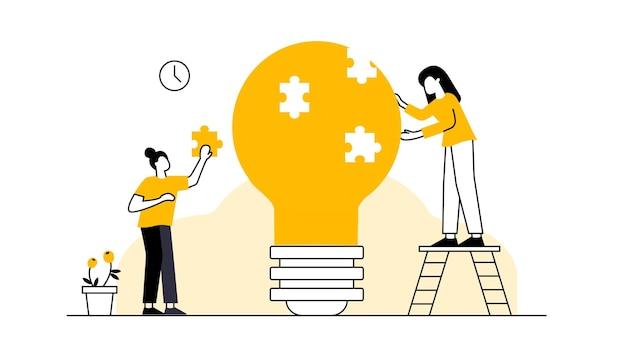 Concetto di business metafora del team persone che collegano elementi del puzzle illustrazione vettoriale design piatto