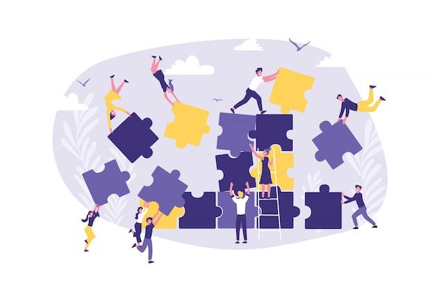 Concetto di business di lavoro di squadra, coworking, crowdfunding, cooperazione e collaborazione.