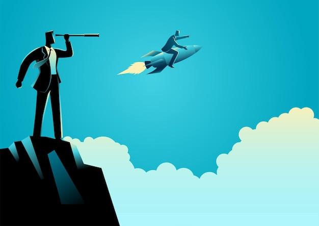 Illustrazione di vettore di concetto di affari dell'uomo d'affari osservando il suo concorrente utilizzando il telescopio