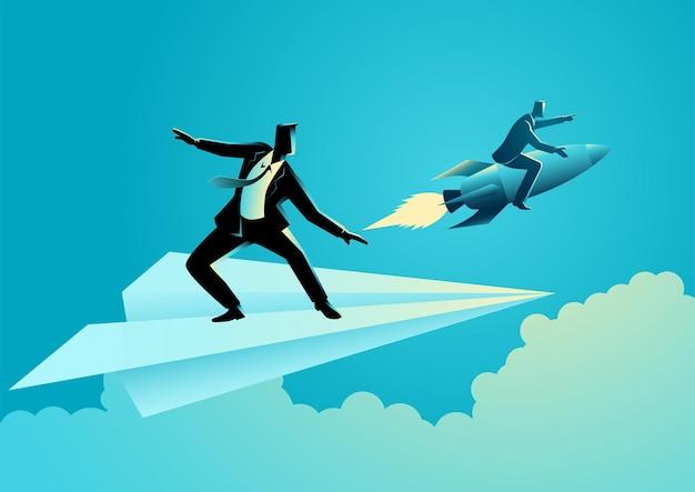 L'illustrazione di vettore di concetto di affari dell'uomo d'affari sull'aereo di carta compete con un uomo d'affari su un razzo