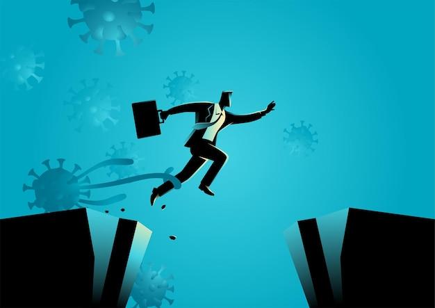Illustrazione di vettore di concetto di affari di un uomo d'affari che cerca di fuggire dalla crisi economica di covid-19