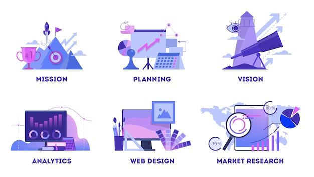 Insieme della bandiera di web di concetto di affari. missione e piano