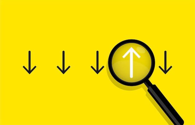 Concetto di affari con frecce e illustrazione lente di ingrandimento