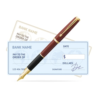 Concetto di affari con assegno bancario e penna stilografica in oro