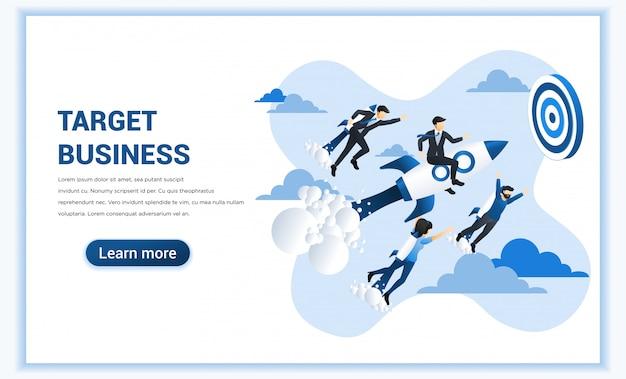 Concetto di affari con l'uomo d'affari che vola in alto guidando un razzo per raggiungere l'obiettivo di affari.