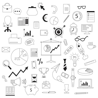 Concetto di affari con stile di design doodle. illustrazione vettoriale