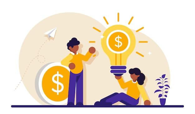 Concetto di affari. giovane imprenditore e imprenditrice. successo di squadra. un'idea che genera entrate. una moneta con un dollaro.