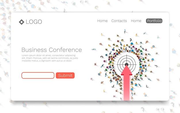 Conferenza d'affari, concetto di pagina di destinazione. illustrazione vettoriale
