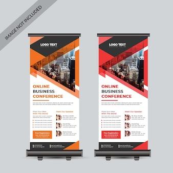 Modello di rollup di conferenza di lavoro Vettore Premium
