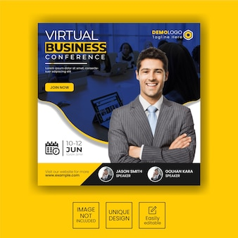 Banner di social media per conferenze aziendali o modello di volantino quadrato