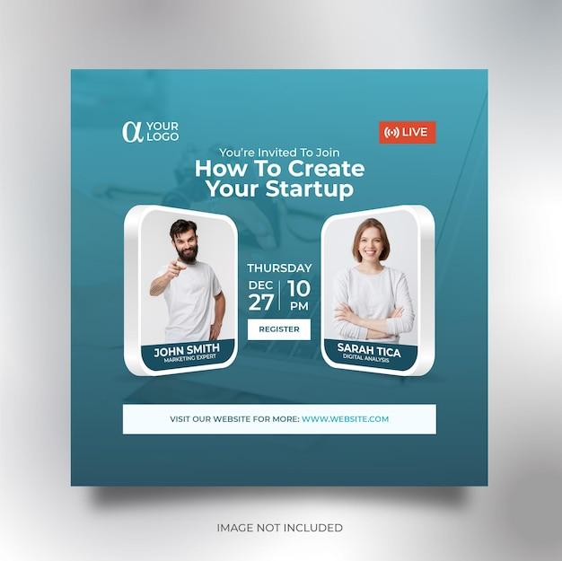 Modello di volantino quadrato banner social media conferenza di lavoro