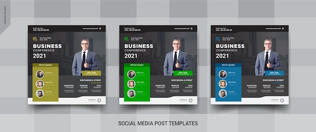 Modello di post sui social media per conferenze di lavoro