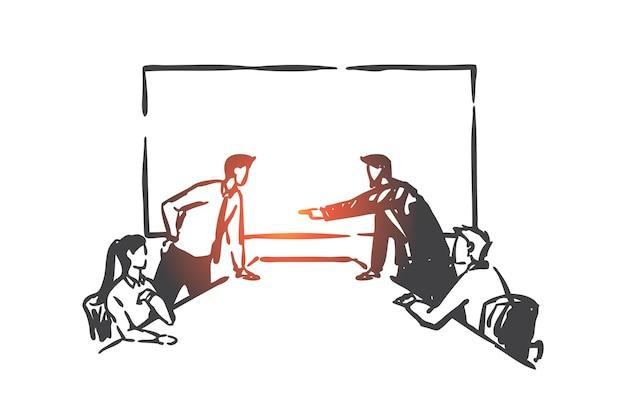 Conflitto di affari, illustrazione di concetto di concorrenza del consiglio di amministrazione Vettore Premium