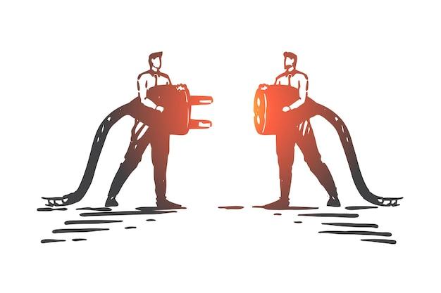 Illustrazione di schizzo di concetto di collegamenti di affari
